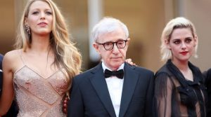 Actress Blake Lively, left, director Woody Allen and actress Kristen Stewart arrive on the red carpet for the screening of the film Cafe Society and the Opening Ceremony at the 69th international film festival, Cannes, southern France, Wednesday, May 11, 2016. (AP Photo/Thibault Camus)